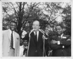 Hubert Humphrey Delivering Speech with Ed Davis and Richard Neal